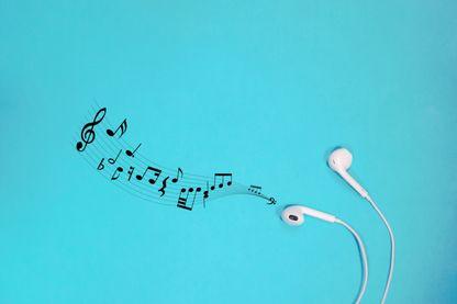 Symbole de la musique sur fond bleu