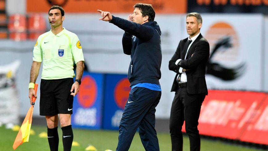 Fabien Mercadal, cette saison coach du Paris FC, lors d'un match à Lorient.