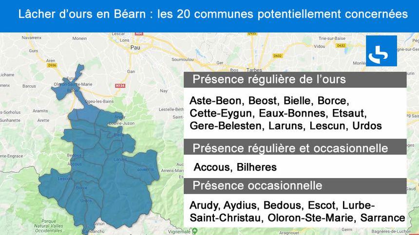 Les 20 communes potentiellement concernées par le lâcher d'ours en Béarn à l'automne, selon la demande déposée par l'ONCFS.