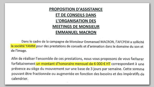 Extrait du contrat passé entre la société Yamm d'Arnaud Jolens, et En marche.
