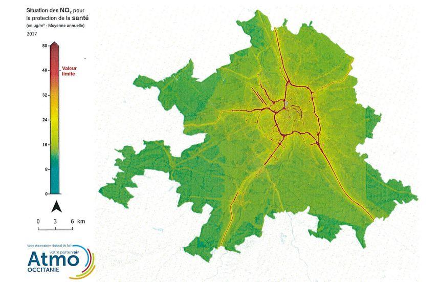 Cette carte de l'agglomération toulousaine montre clairement les zones les plus touchées par la forte concentration en oxydes d'azote