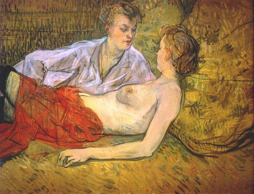"""Henri de Toulouse-Lautrec, """"Les Deux Amies"""", 1895, gouache sur carton, 64,5 x 84 cm, Fondation et Collection Emil G. Bührle (Zurich, Suisse)"""