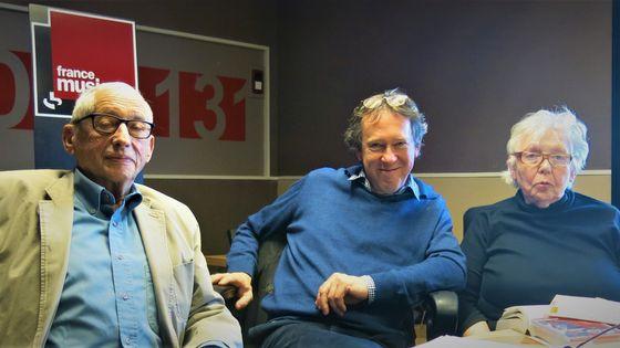 France Musique, studio 131... Serge Korber, Benoît Duteurtre & Michèle Bernstein (g. à d.)