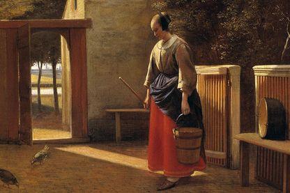 """Détail du tableau """"La servante dans la cour d'une ville hollandaise"""", une peinture de Peter Hoogh (1629-1681) 17ème siècle Collection privée"""
