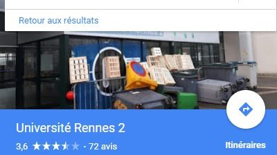 Capture d'écran de la recherche GoogleMaps sur l'université Rennes 2
