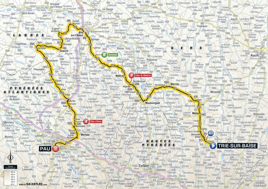 Tour de France 2018 : le parcours de la 18e étape entre Trie-sur-Baïse et Pau