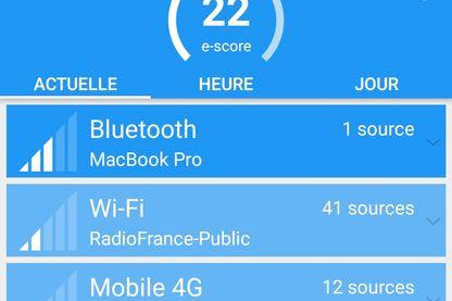Tableau d'exposition aux ondes à Radio France dans l'application ElectroSmart