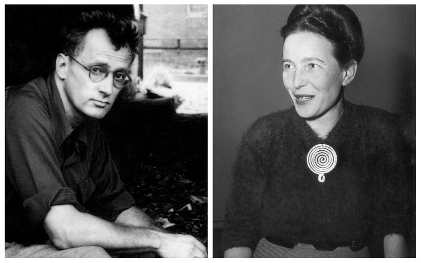Nelson Algren en 1949 (© Universal History Archive / Contributeur) & Simone de Beauvoir en 1955 (© Hulton Archive / Intermittent)