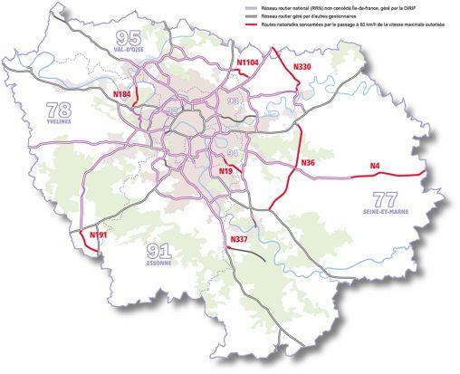 routes nationales concernées en Ile-de-France