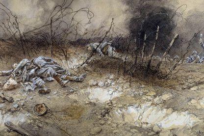 Craonne - Corps des fantassins gisant parmi les barbelés. Peinture a l'aquarelle de Francois Flameng