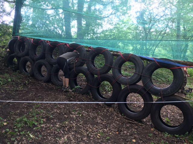 Les rangs des pneus sont bien alignés...il faut passer au milieu...