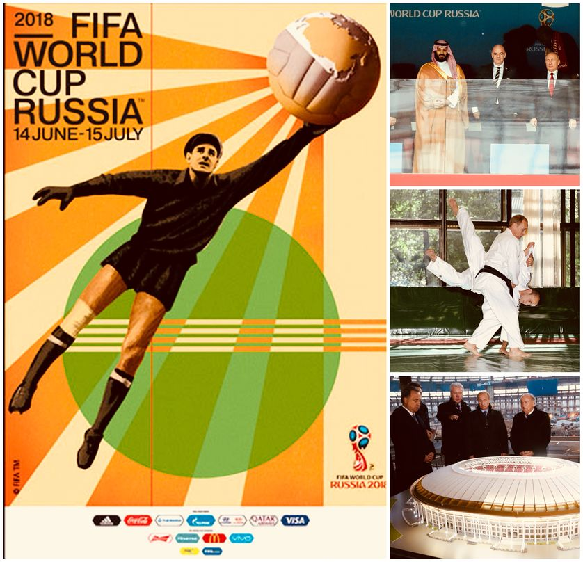Affiche FIFA, Modial en Russie/Moscou, 14.06.18: M. bin Salman of Saudi Arabia, FIFA President G. Infantino and President W. Putin of Russia,/Putin training in sambo, Juin 2002/Putin Visits Luzhniki Stadium, Moscou, 28.10.18
