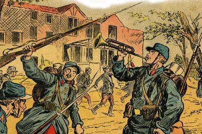 Soldats français partant a l'assaut, baïonnette au canon, lors de la bataille d'Argonne en septembre 1915