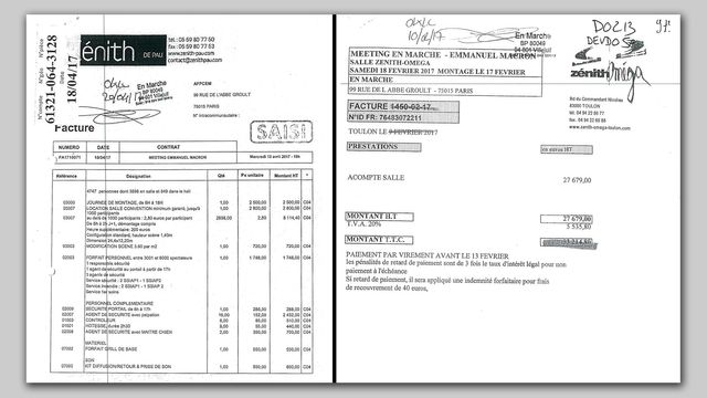 A droite, la facture du zénith de Pau, très détaillée, fait 3 pages, à gauche celle de Toulon ne comporte qu'une seule ligne