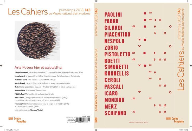 Arte Povera hier et aujourd'hui - N°143, printemps 2018 de la revue Les Cahiers du Musée national d'art moderne