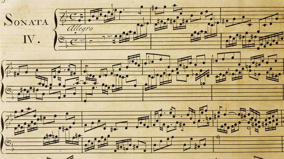 Une partition d'une des sonates de Scarlatti