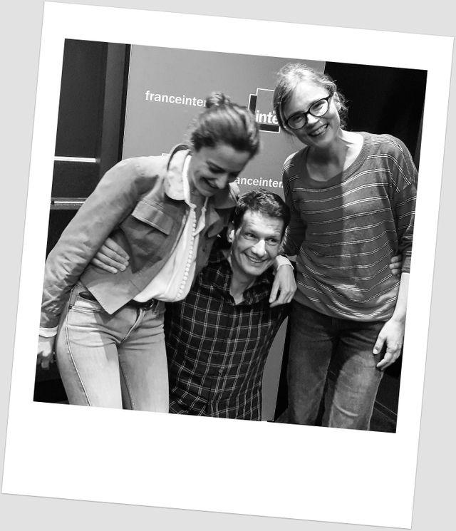 Colombe Schneck, Vincent Josse et Isabelle Carré, pendant l'enregistrement (joyeux! ) du grand Atelier (juin 2018)