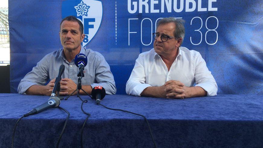 Philippe Hinschberger (à gauche) au côté du manager général du GF38, Max Marty (à droite)
