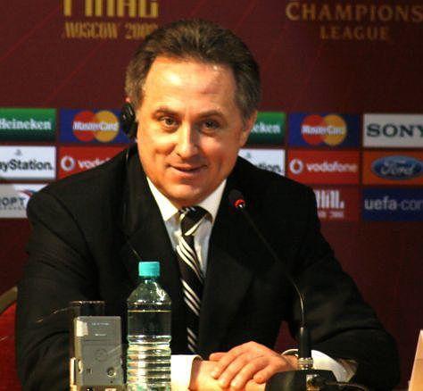 Vitaly Mutko, le 3 avril 2008; Ancien ministre russe des Sports de 2008 à 2016, il est vice-Premier ministre de la Russie depuis le 19 octobre 2016. Le 25 décembre 2017, il démissionné « pour une période de six mois » de la présidence de la Fédératio