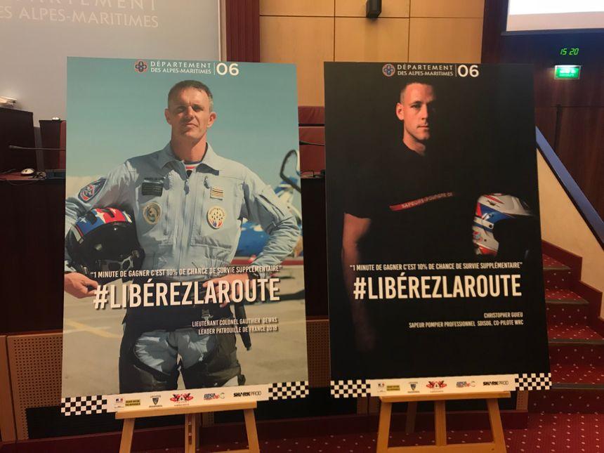 """Le lieutenant-colonel Gauthier de la Patrouille de France et le pompiers Christophe Guieu, ambassadeurs de l'opération """"Libérez la route"""""""