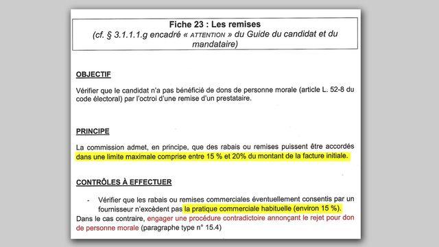 Extrait du document remis à tous les rapporteurs chargés de contrôler les comptes de campagne
