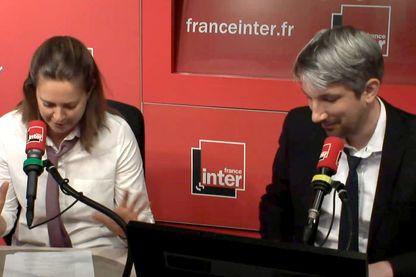 Charline Vanhoenacker et Guillaume Meurice de l'Agence Win Win prodiguent leurs conseils à Aurore Bergé le 28 juin 2018