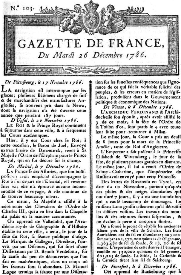 La Gazette du 6 décembre 1786