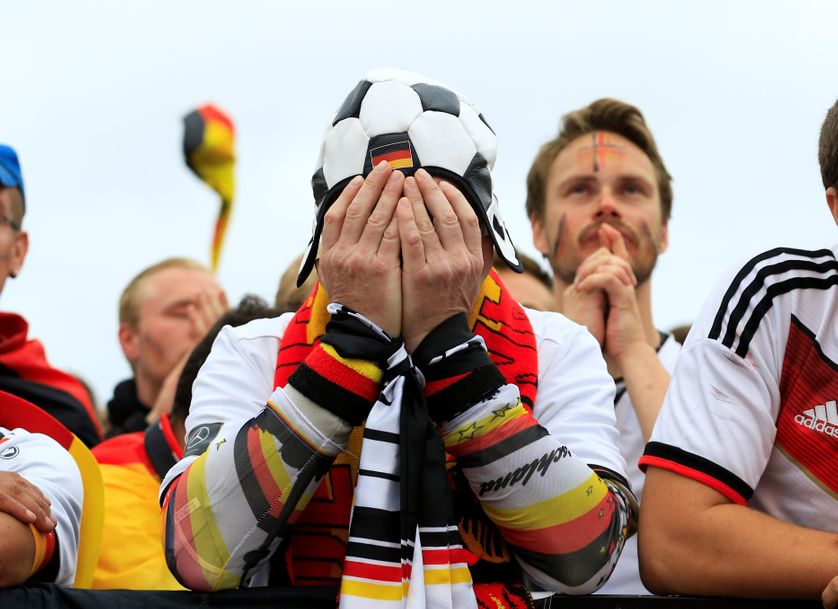 Supporter allemand après l'élimination de la Mannschaft de la Coupe du monde 2018