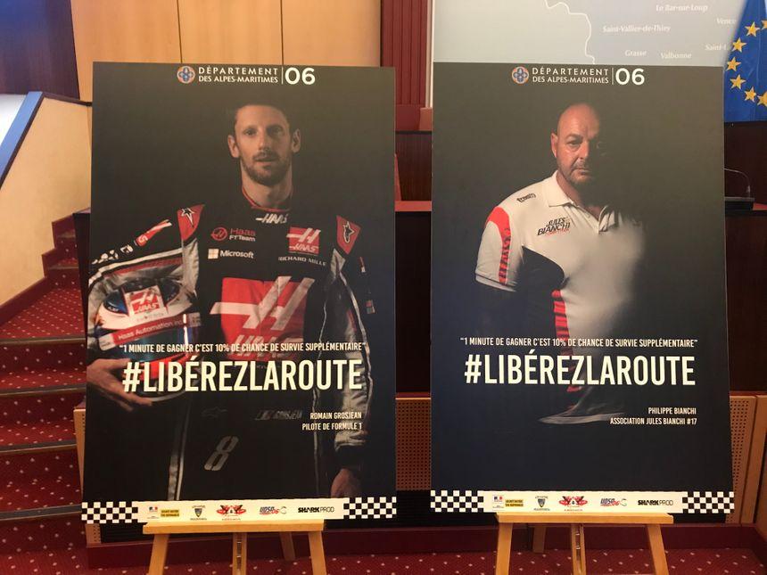 """Romain Grosjean et Philippe Bianchi, ambassadeurs de l'opération """"Libérez la route"""""""