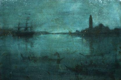 La lagune, Venise: Nocturne en bleu et argent par James Abbott McNeill Whistler (1834-1903).