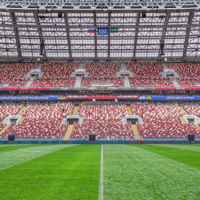 Sur la pelouse du stade Loujniki, ou a été programmé le match d'ouverture de la Coupe du monde : la Russie face à l'Arabie Saoudite