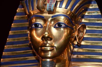 Masque funéraire de Toutânkhamon exposé le 2 avril 2015 à Munich,