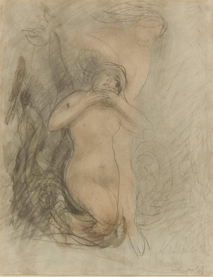 Le Bain de la Sirène (vers 1900), dessin d'Auguste Rodin (1840-1917). Buenos Aires, musée national des beaux-arts d'Argentine