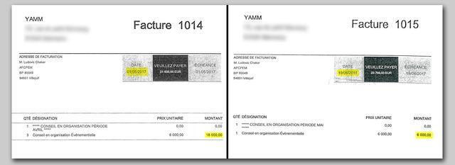 Extraits de deux factures adressées par la société Yamm à En marche, l'une de 6 000 euros, l'autre de 18 000 euros.