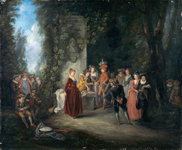 Jean-Antoine Watteau, l'Amour au Théâtre français, XVIIIe siècle, huile sur toile, 51,4 x 62,9 cm