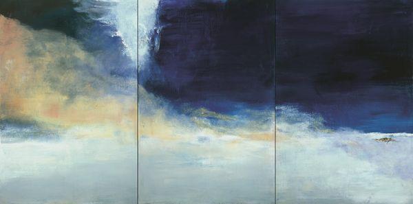 Zao Wou-Ki, Le vent pousse la mer, 2004 Huile sur toile 194,5 x 390 cm Collection particulière Photo : Dennis Bouchard Zao Wou-Ki