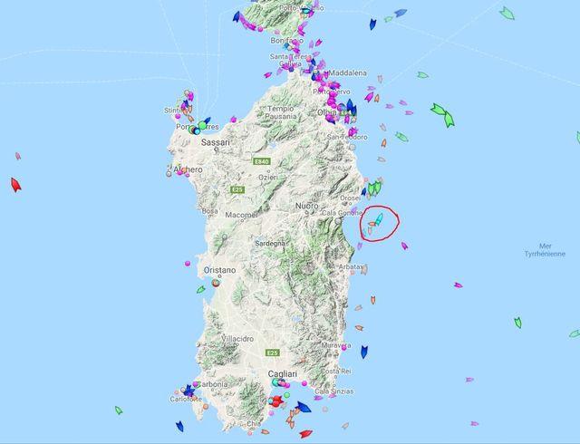 Situation de l'Aquarius jeudi après-midi au large de la Sardaigne