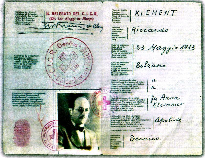 Passeport de Karl Adolf Eichmann sous le nom de Riccardo Klement