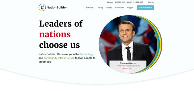 Capture d'écran de la page d'accueil du site NationBuilder.com