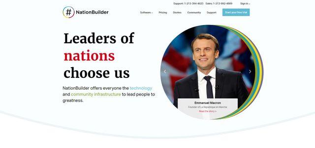 Capture d'écran de la page d'accueil du site NationBuilder.com