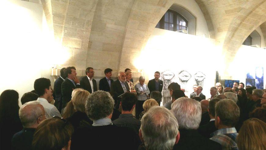 Les fondateurs d'Esprit Bordeaux à la tribune pour cette soirée de lancement