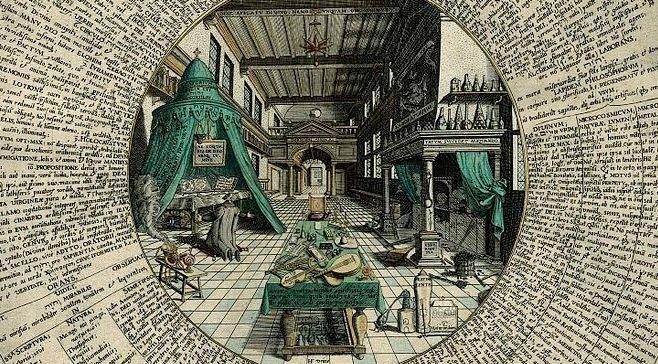 """(détail) """"Le Laboratoire de l'alchimiste"""" dans Amphitheatrum sapientiae aeternae d'Heinrich Khunrath (1595)."""