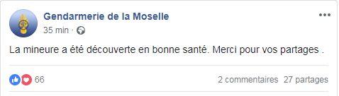 Les gendarmes de la Moselle remercie les Internautes pour leurs partages sur Facebook.