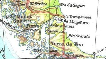 Ancienne carte du détroit de Magellan
