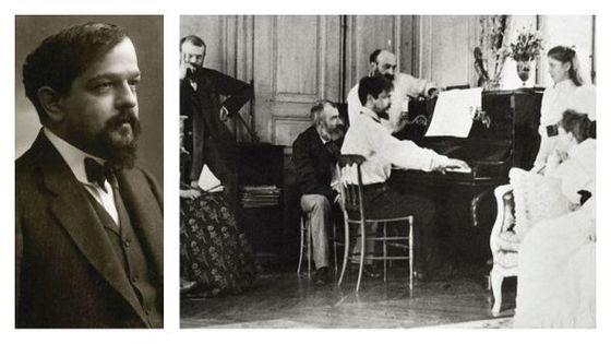 Claude Debussy par Nadar en 1908 & Claude Debussy avec sa famille en 1893