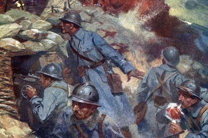 """Les soldats de l'armée française dans les tranchées - Illustration dans """"Mon histoire de la grande guerre"""" d'Olivier d'Arc - 1919"""