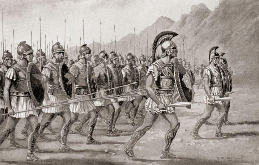 La formation de la Phalange macédonienne, développée par Philippe II de Macédoine.