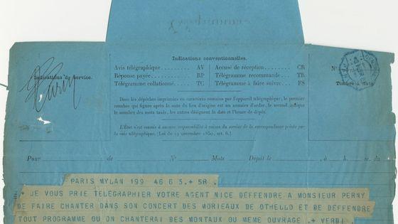 Télégramme de Giuseppe Verdi adressé à la Sacem