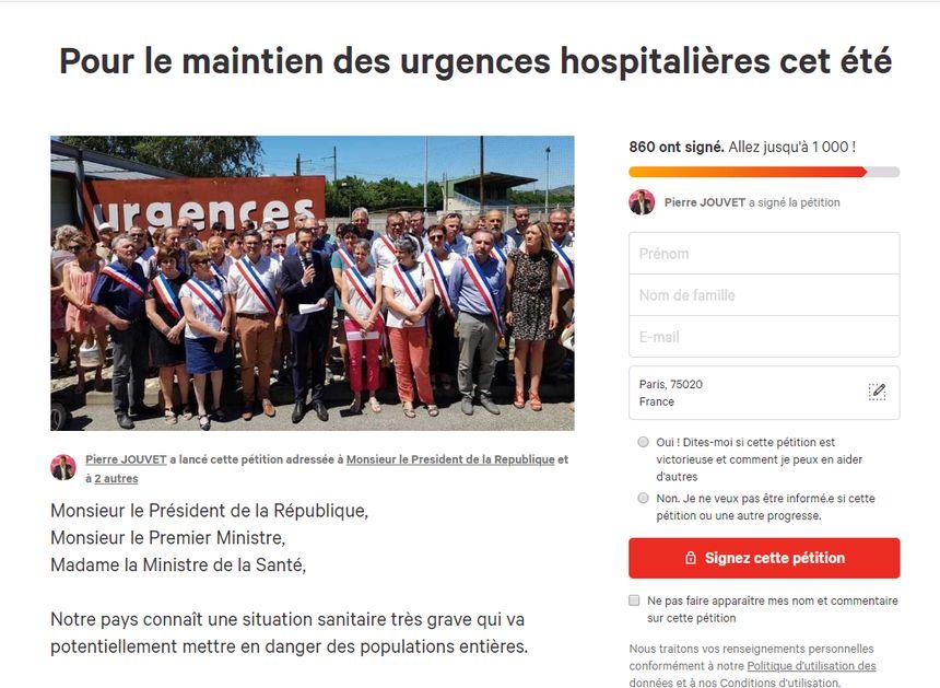 Capture d'écran Change.org