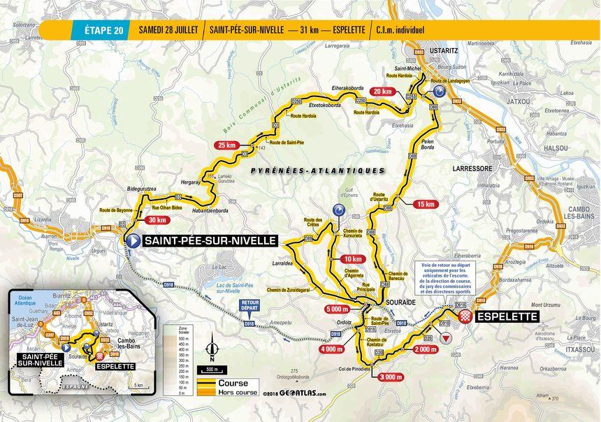 Tour de France : le tracé de la 20e étape entre Saint-Pée-sur-Nivelle et Espelette